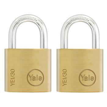 Yale YE1 Brass Padlock 30mm (2 Pack) - YALYE1302PK