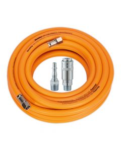 "Air Hose 10m x Ø8mm Hybrid High Visibility with 1/4""BSP Unions and PCL Type Coupling & Adapter"