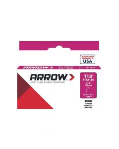 "Arrow T18 Round Crown Staples 10mm 3/8"" (1000 Box) - 186"