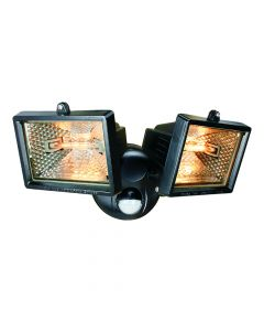 Byron Twin Halogen Floodlight With PIR Black 150 Watt - BYRES1202