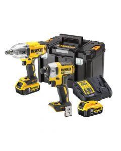 DEWALT XR Brushless Impact Twin Kit 18V 2 x 5.0Ah Li-ion - DEWDCK2088P2
