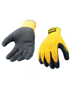 DEWALT DPG70L Yellow Knit Back Latex Gloves - Large - DEWGRIPPER
