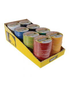 Everbuild Electrical Insulation Tape 19mm x 33M Display of 48pc Assorted Colours - EVB2ELECMIX