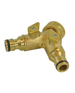 Faithfull 2 Way Shut Off Valve 19mm (3/4in) to 2 x 12.5mm (1/2in) - FAIHOSE2WAY