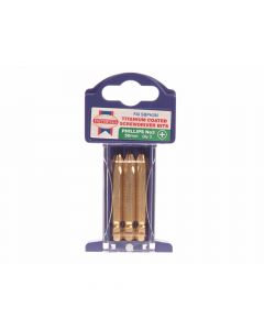 Faithfull Phillips 3 Titanium Coated Screwdriver Bits x 50mm Pack of 3 - FAISBPH3M