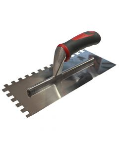Faithfull Notched Trowel Serrated 10mm Stainless Steel Soft Grip Handle 13 x 4.1/2in - FAISGTNOT10S