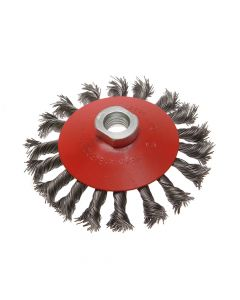 Faithfull Conical Wire Brush 100mm M14 Bore 0.50mm Wire - FAIWBTC100