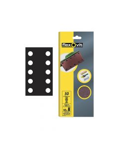 Flexovit 1/2 Sanding Sheets Perforated Coarse 50 Grit (Pack of 10) - FLV26498