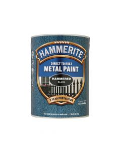 Hammerite Direct to Rust Hammered Finish Metal Paint Black 5 Litre - HMMHFBL5L