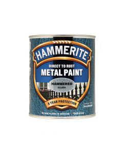 Hammerite Direct to Rust Hammered Finish Metal Paint Silver 750ml - HMMHFS750