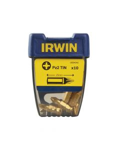 IRWIN Screwdriver Bits Pozi PZ2 25mm Titanium Pack of 10 - IRW10504342