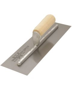 "Marshalltown Cement Finishing Trowel - Spring Steel Blade - Straight Wood Handle 14"" x 4"" - MX64"