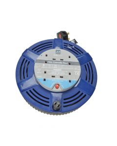 Masterplug Cassette Cable Reel 15 Metre 4 Socket Thermal Cut-Out Blue 10A 240 Volt - MSTLCT15104R