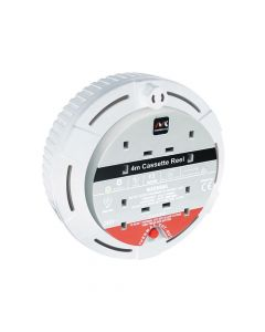 Masterplug Cassette Cable Reel 4 Metre 4 Socket Thermal Cut-Out White 13A 240 Volt - MSTSCT04134W