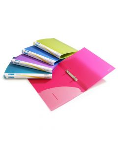 Rapesco 25mm 2-Ring, Bright Transparent Ring Binder, A4 (assorted colours) - 0716