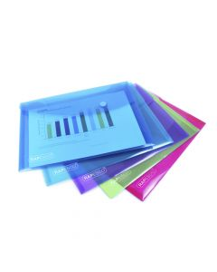 Rapesco Bright Transparent Popper Wallet, A5 (assorted colours) - 0689