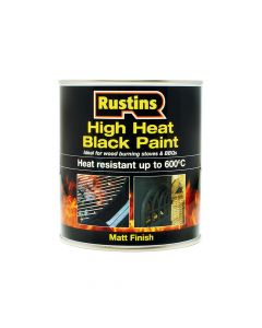 Rustins High Heat Paint 600°C Black 250ml - RUSH600BP250