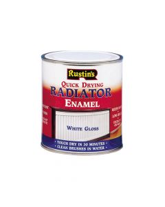 Rustins Quick Dry Radiator Enamel Paint, Gloss White 250ml - RUSQDREG250