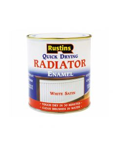 Rustins Quick Dry Radiator Enamel Paint, Satin White 250ml - RUSQDRES250