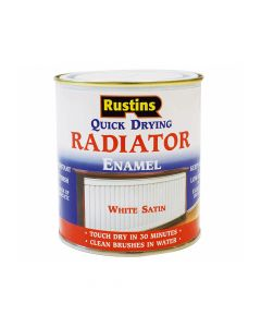 Rustins Quick Dry Radiator Enamel Paint, Satin White 500ml - RUSQDRES500