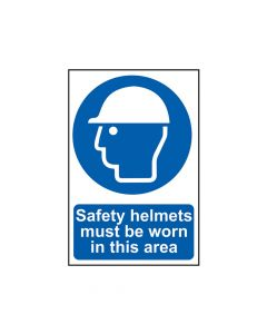 Scan Safety Helmets Must Be Worn In This Area - PVC 200 x 300mm - SCA0002
