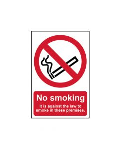 Scan No Smoking It Is Against The Law To Smoke In These Premises - PVC 200 x 300mm - SCA0567