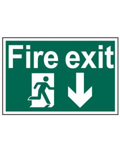 Scan Fire Exit Running Man Arrow Down - PVC 300 x 200mm - SCA1503