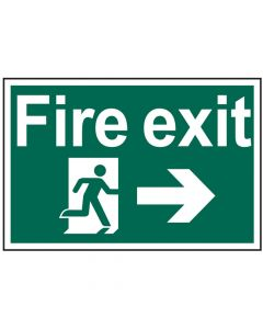 Scan Fire Exit Running Man Arrow Right - PVC 300 x 200mm - SCA1504
