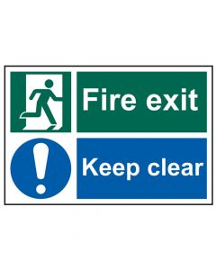 Scan Fire Exit Keep Clear - PVC 300 x 200mm 1540 - SCA1540