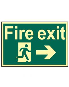 Scan Fire Exit Running Man Arrow Right - Photoluminescent 300 x 200mm - SCA1581