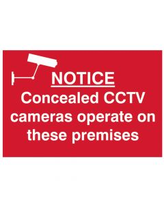 Scan Notice Concealed CCTV Cameras Operate On These Premises - PVC 300 x 200mm - SCA1607