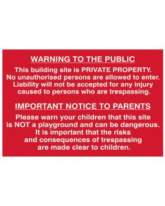 Scan Building Site Warning To Public And Parents - PVC 600 x 400mm - SCA4251