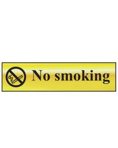Scan No Smoking - Polished Brass Effect 200 x 50mm - SCA6000