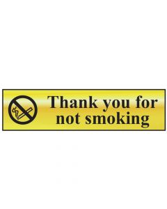 Scan Thank You For Not Smoking - Polished Brass Effect 200 x 50mm - SCA6001
