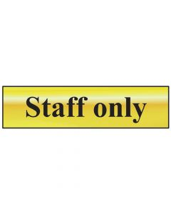 Scan Staff Only - Polished Brass Effect 200 x 50mm - SCA6013