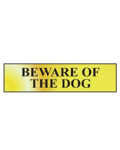 Scan Beware Of The Dog - Polished Brass Effect 200 x 50mm - SCA6050