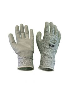 Scan Grey PU Coated Cut 5 Liner Gloves - XL - SCAGLOCUT5XL