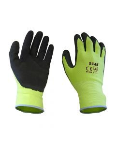 Scan Yellow Foam Latex Coated Gloves 13g - Large - SCAGLOLATYL