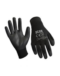Scan Black PU Coated Gloves - Large (Size 9) (Pack 12) - SCAGLOPU12