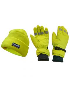 Scan Hi-Visibility Beanie Hat & Gloves Yellow - SCAWWHVGLOPK