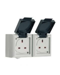 SMJ IP54 Outdoor Socket 13A 2 Gang - SMJEP213B