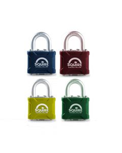 Squire 35CLR - Stronglock Pin Tumbler Laminated Double Locking Padlock - 7 Colours to Choose From - Open Shackle