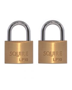 Squire LP10T - Leopard Range - Twinpack 2 x LP10 50mm Solid Brass Double Locking Padlocks - Open Shackle - Keyed Alike