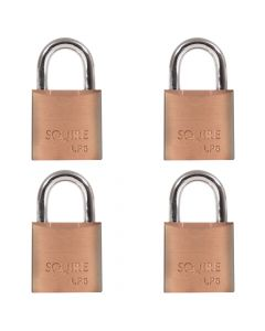 Squire LP6Q - Leopard Range -  Quadpack 4 x LP6 20mm Solid Brass Padlocks - Open Shackle - Keyed Alike