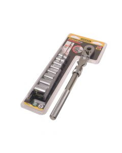 Stanley Socket Rack of 8 Sockets + Ratchet Metric 3/8in Drive - STA094609