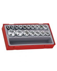 Teng 17 Piece Metric 6p Socket Set 1/2in Drive - TENTT12176