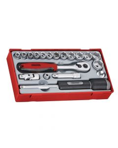Teng 19 Piece Reg Metric Socket Set 3/8in Drive - TENTT3819