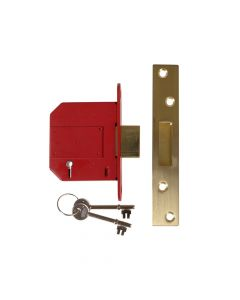 UNION StrongBOLT 2100S BS 5 Lever Mortice Deadlock 81mm 3in Satin Brass Visi - UNNY2100SP30