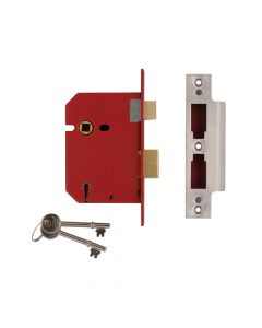 UNION 2201 5 Lever Mortice Sashlock Satin Chrome 65mm 2.5in Box - UNNJ2201SC25