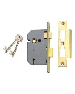 UNION 2277 3 Lever Mortice Sashlock Polished Brass 65mm 2.5in Box - UNNJ2277PL25
